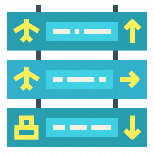 airport, arrows, flight, signage icon