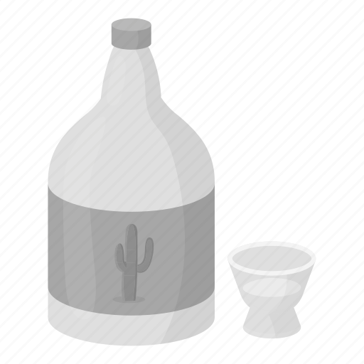 alcohol, beverage, bottle, cactus, drink, glass, tequila icon
