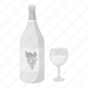 alcohol, bottle, drink, glass, grapes, white, wine icon