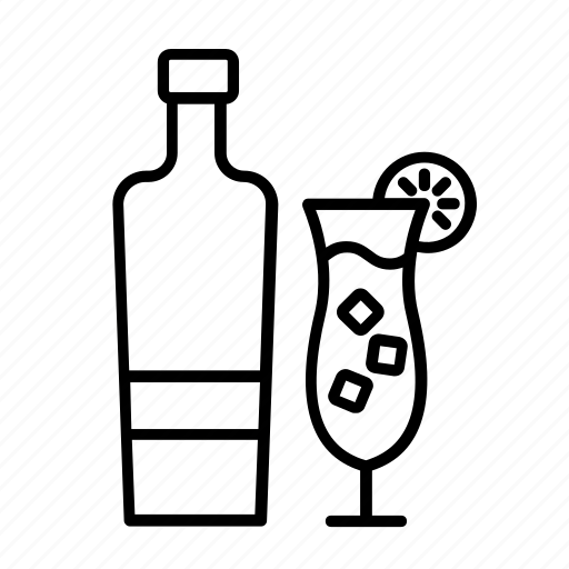 alcohol, bottle and glass, cocktail, mocktail, spirits, tequila icon