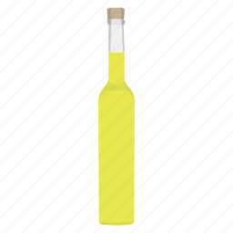 alcohol, booze, bottle, drink, lemon, lemoncello, liqueur icon