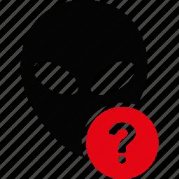alien, help, info, information, problem, question mark, support icon