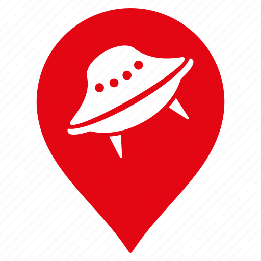 alien, direction, location, navigation, place, pointer, ufo icon