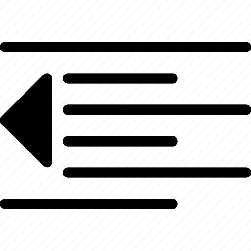 decrease, document, file, indent, minus, text icon