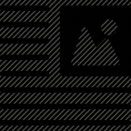 document, file, image, left, photo, wrap icon