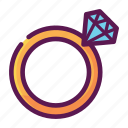 diamond, engagement, love, ring, valentine icon