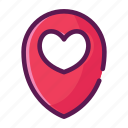 gps, heart, location, love, map, valentine icon