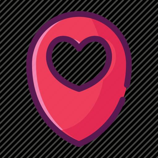 gps, heart, location, love, map, valentine icon