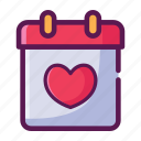 calendar, love, valentine icon
