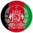 afghanistan, circular, country, flag, national, national flag, rounded