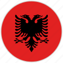 albania, circular, country, flag, national, national flag, rounded
