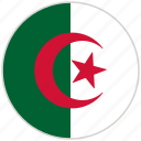 algeria, circular, country, flag, national, national flag, rounded icon
