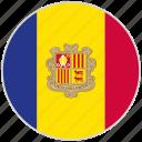 andorra, circular, country, flag, national, national flag, rounded
