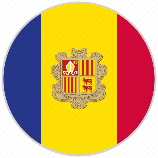 andorra, circular, country, flag, national, national flag, rounded icon