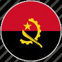 angola, circular, country, flag, national, national flag, rounded icon