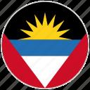 antigua and barbuda, circular, country, flag, national, national flag, rounded