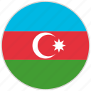 azerbaijan, circular, country, flag, national, national flag, rounded