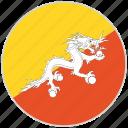 bhutan, circular, country, flag, national, national flag, rounded
