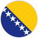 bosnia and herzegovina, circular, country, flag, national, national flag, rounded