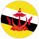 brunei, circular, country, flag, national, national flag, rounded