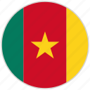 cameroon, circular, country, flag, national, national flag, rounded