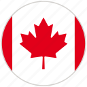 canada, circular, country, flag, national, national flag, rounded icon