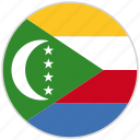 circular, comoros, country, flag, national, national flag, rounded icon