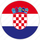 circular, country, croatia, flag, national, national flag, rounded
