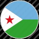 circular, country, djibouti, flag, national, national flag, rounded