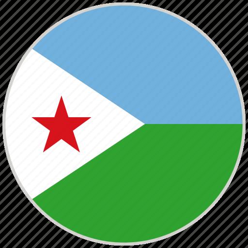 circular, country, djibouti, flag, national, national flag, rounded icon