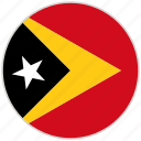 circular, country, east timor, flag, national, national flag, rounded icon