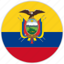 circular, country, ecuador, flag, national, national flag, rounded