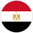 circular, country, egypt, flag, national, national flag, rounded