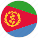 circular, country, eritrea, flag, national, national flag, rounded icon