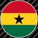 circular, country, flag, ghana, national, national flag, rounded