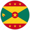 circular, country, flag, grenada, national, national flag, rounded