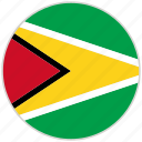 circular, country, flag, guyana, national, national flag, rounded icon