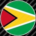 circular, country, flag, guyana, national, national flag, rounded
