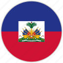 circular, country, flag, haiti, national, national flag, rounded