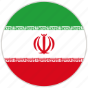 circular, country, flag, iran, national, national flag, rounded icon