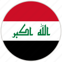 circular, country, flag, iraq, national, national flag, rounded