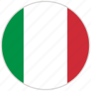 circular, country, flag, italy, national, national flag, rounded