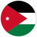 circular, country, flag, jordan, national, national flag, rounded icon