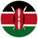 circular, country, flag, kenya, national, national flag, rounded