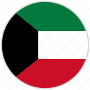 circular, country, flag, kuwait, national, national flag, rounded