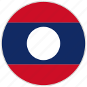 circular, country, flag, laos, national, national flag, rounded