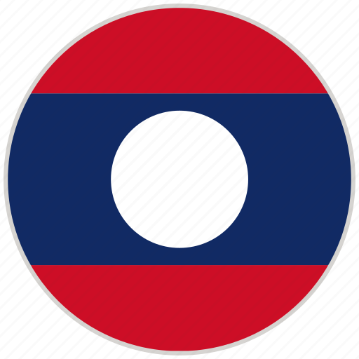 circular, country, flag, laos, national, national flag, rounded icon