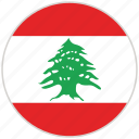 circular, country, flag, lebanon, national, national flag, rounded