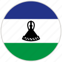 circular, country, flag, lesotho, national, national flag, rounded