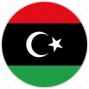 circular, country, flag, libya, national, national flag, rounded